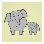 Two Elephants. Cute Adult and Baby Cartoon. Print