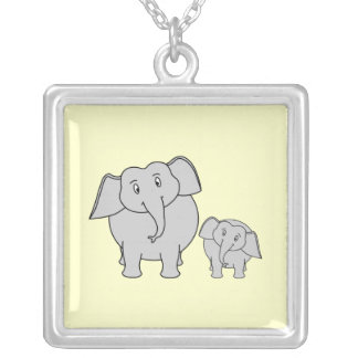 Two Elephants. Cute Adult and Baby Cartoon. Silver Plated Necklace