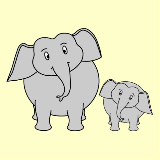 Two Elephants. Cute Adult and Baby Cartoon. Standing Photo Sculpture