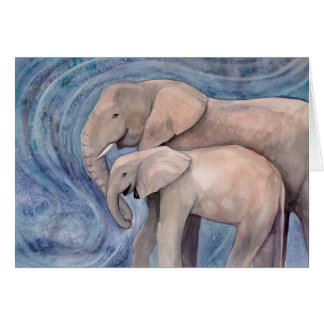 Two Elephants Mother and Baby Watercolor Art Card