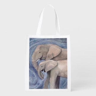 Two Elephants Watercolor Art Reusable Grocery Bags