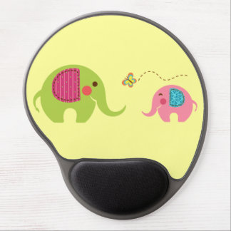 Two elephants with butterfly gel mouse pad
