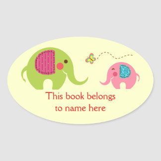 Two elephants with butterfly oval sticker