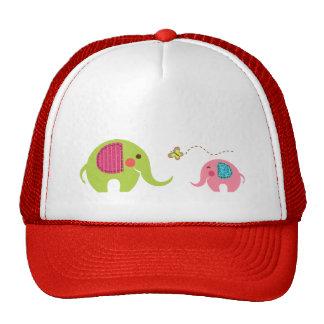 Two elephants with butterfly trucker hat