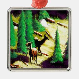 Two Elk In The Sunlight Metal Ornament