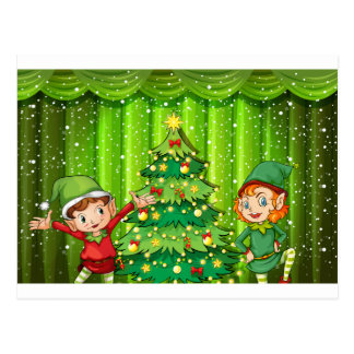 Two elves near the christmas tree postcard