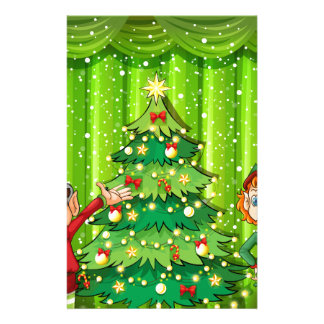 Two elves near the christmas tree stationery