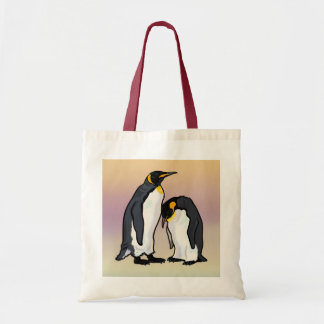 two emperor penguins tote bags