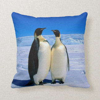 TWO EMPEROR PENGUINS ON ICE PILLOW CUSHION