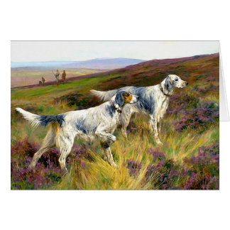 Two English Setters in a Field - Arthur Wardle Card