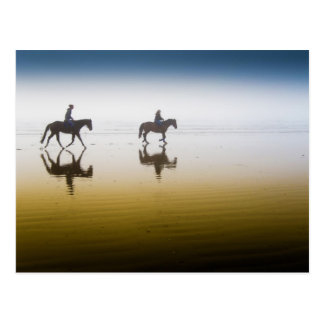 Two Equestrian Riders on the Beach Postcard