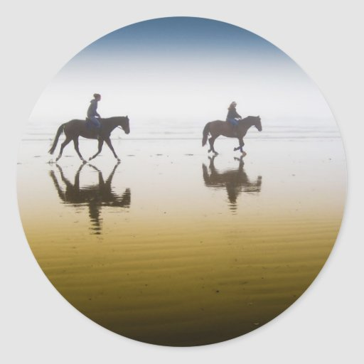 Two Equestrian Riders on the Beach Round Sticker