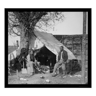 Two Escaped Slaves Sitting in a Tent 1863 Print