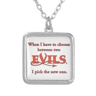 Two Evils Silver Plated Necklace