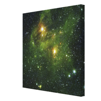 Two extremely bright stars stretched canvas prints