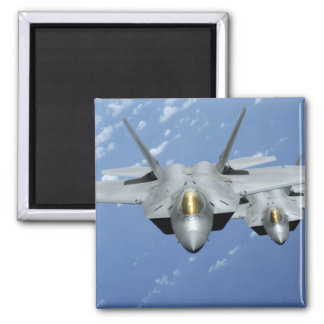 Two F-22 Raptors fly over the Pacific Ocean 2 2 Inch Square Magnet