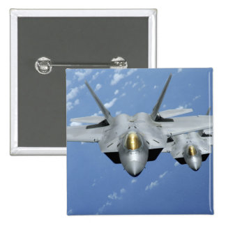 Two F-22 Raptors fly over the Pacific Ocean 2 Pinback Button