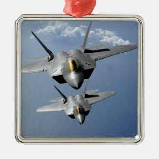 Two F-22 Raptors fly over the Pacific Ocean Square Metal Christmas Ornament