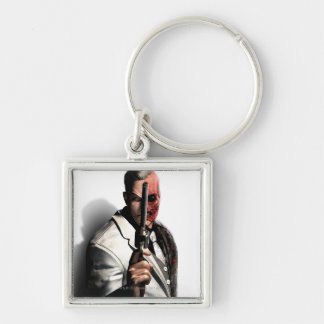 Two-Face 2 Silver-Colored Square Keychain