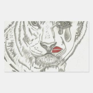 Two Face Tiger Rectangular Sticker