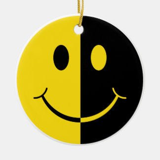 Two Faced Smiley Face Ceramic Ornament