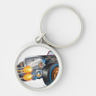 Two Face's Car 2 Silver-Colored Round Keychain