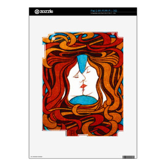 """""""Two Faces Kissing with Hair"""" circa 1898 iPad 2 Decal"""