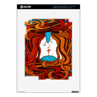 """""""Two Faces Kissing with Hair"""" circa 1898 iPad 3 Decals"""