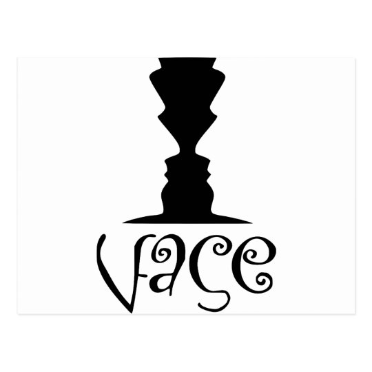 Two Faces or Vase Optical Illusion Postcard