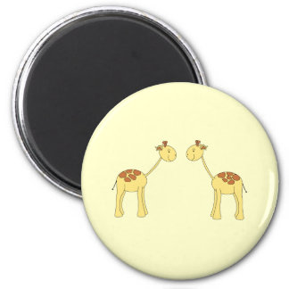 Two Facing Giraffes. Cartoon 2 Inch Round Magnet