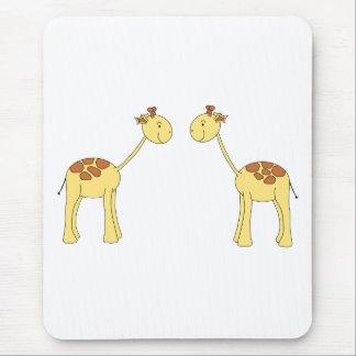 Two Facing Giraffes. Cartoon Mouse Pad