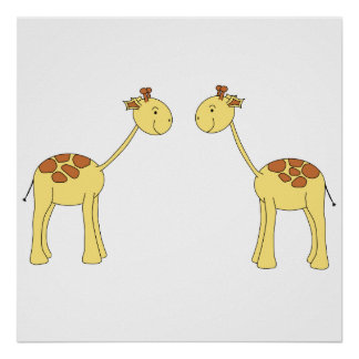 Two Facing Giraffes. Cartoon Poster