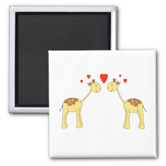 Two Facing Giraffes with Hearts. Cartoon. 2 Inch Square Magnet