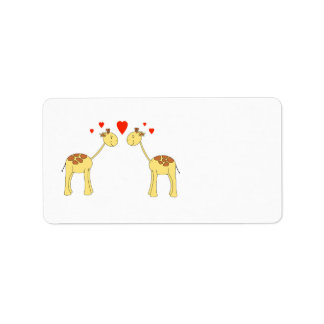 Two Facing Giraffes with Hearts. Cartoon. Address Label