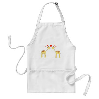 Two Facing Giraffes with Hearts. Cartoon. Adult Apron