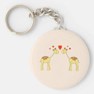 Two Facing Giraffes with Hearts. Cartoon. Basic Round Button Keychain