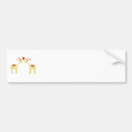 Two Facing Giraffes with Hearts. Cartoon. Bumper Stickers