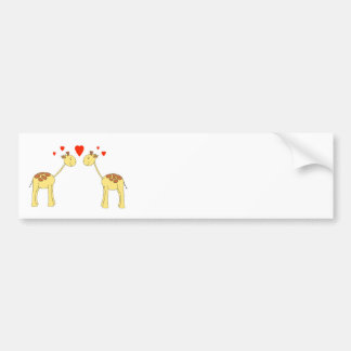 Two Facing Giraffes with Hearts. Cartoon. Bumper Sticker