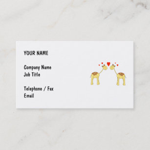 Two face business cards templates zazzle two facing giraffes with hearts cartoon business card reheart Gallery