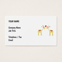 Two Facing Giraffes with Hearts. Cartoon. Business Card