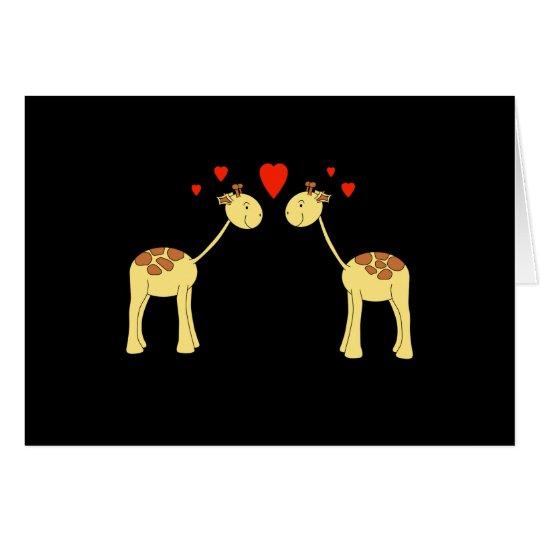 Two Facing Giraffes with Hearts. Cartoon. Card