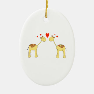 Two Facing Giraffes with Hearts. Cartoon. Ceramic Ornament