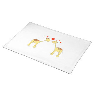 Two Facing Giraffes with Hearts. Cartoon. Cloth Place Mat
