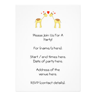 Two Facing Giraffes with Hearts. Cartoon. Custom Invites