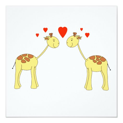 Two Facing Giraffes with Hearts. Cartoon. Invites