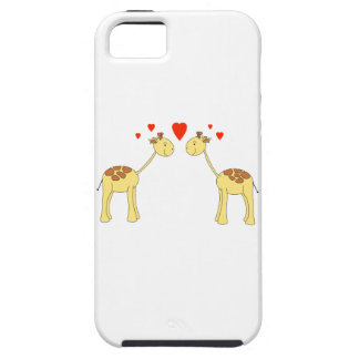 Two Facing Giraffes with Hearts. Cartoon. iPhone SE/5/5s Case