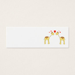 Two Facing Giraffes with Hearts. Cartoon. Mini Business Card