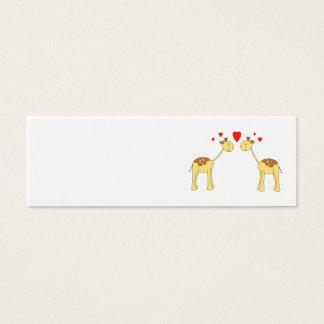 Two Facing Giraffes with Hearts. Cartoon. Mini Business Card