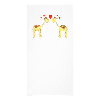 Two Facing Giraffes with Hearts. Cartoon. Photo Card