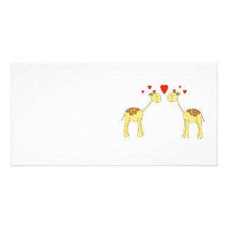 Two Facing Giraffes with Hearts. Cartoon. Photo Greeting Card